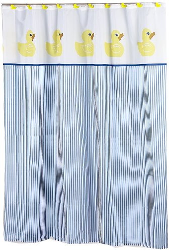 cute stripes and rubber duckies shower curtain