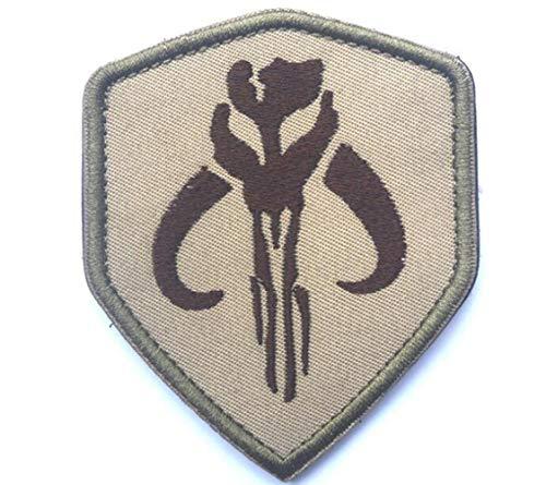 Ohrong Bounty Hunter borduurwerk Sheild Tactical Morale Patch Mandalorian Bantha Skull Boba Fett Badge Armband Embleem Applique met haak & lus