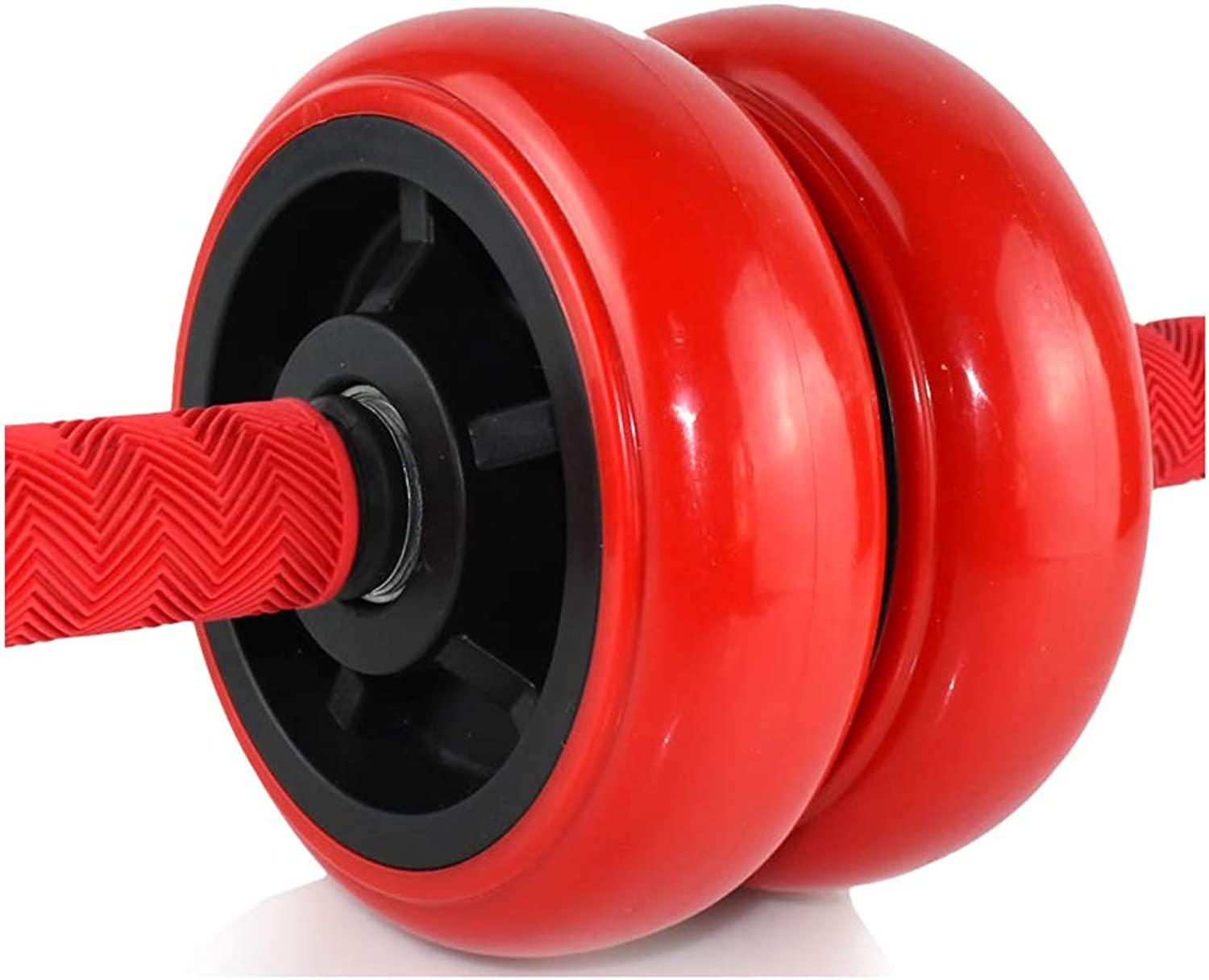 Rubber Solid Roller  Sport Wheel with Stable Double Wheels and Steel Handles is Ideal for Core Strength Training Abdominal Exercise (Red)