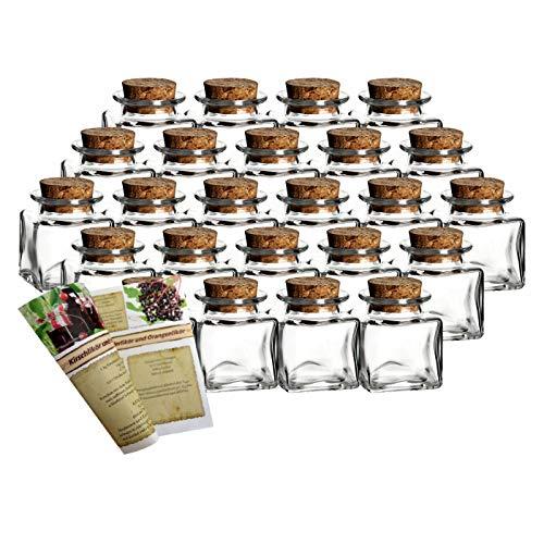 """gouveo 24er Set kleine Korkengläser Mini 50"""" incl. Korken und 28-seitige Flaschendiscount-Rezeptbroschüre für Gastgeschenke, Gewürze, Glasdose, Aufbewahrungsglas, Korkenglas eckig"""