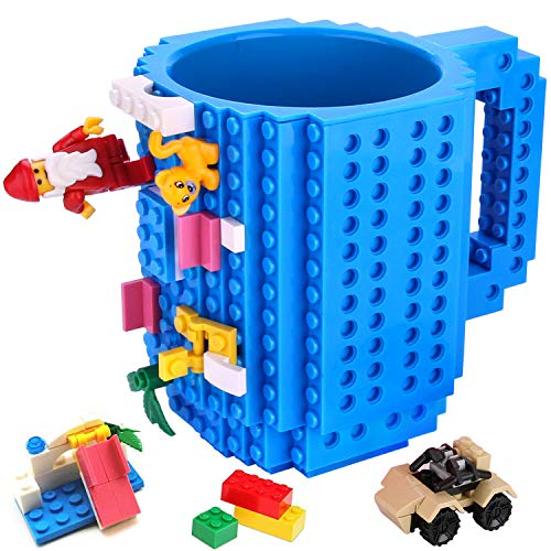 Build-on Brick Mug,Novelty Creative Compatible with LEGO DIY Building Blocks Coffee Cup with Bricks,Unique Funny Cup,Puzzle Mug,Beverage Pen Cup for...