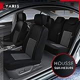 DBS - Housses de siège sur Mesure pour Yaris (10/2011 à 2021) | Housse Voiture/Auto d'intérieur | Haut de Gamme | Jeu Complet en Tissu | Montage Rapide