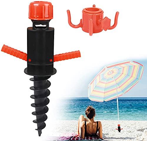 Tbrov Soporte para sombrilla, casquillos de suelo, tacos de suelo para playa o tierra con tacos y ganchos para colgar palos de sombrilla de hasta 22-32 mm, color negro