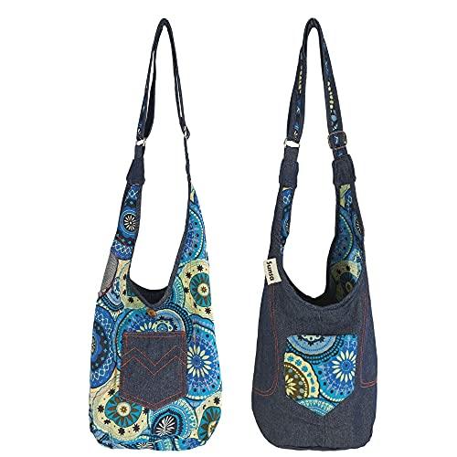 Sunsa Kinder Jeans Tasche Umhängetasche klein Kindergartentasche Mädchen Geburtstag Geschenk kleine Kindertasche Hobo Bag Schultertasche lässig Stoffbeutel aus Baumwolle blau