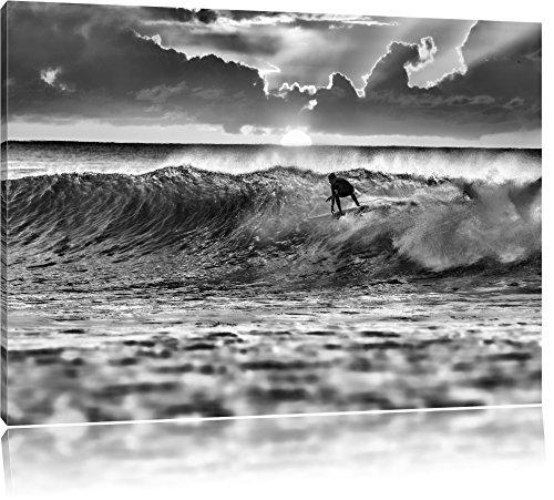Pixxprint Surfen Wellenreiten als Leinwandbild | Größe: 120x80 cm | Wandbild | Kunstdruck | fertig bespannt