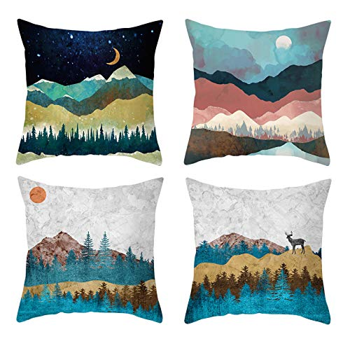 4 Pack Cushion Covers 18x18 Inches Decorative Throw Pillow Covers Square Unique Design Pillow Cases with Invisible Zipper for Sofa Livingroom Bedroom Patio Porch Garden Car (Sunrise)