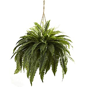 Nearly Natural 6788 Double Giant Boston Fern Hanging Basket,Green