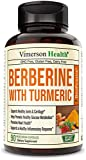 Berberine Turmeric Curcumin Supplement with Bioperine - 90 Vegan Capsules - Supports Joints Health, Glucose Metabolism, Heart Health - with Black Pepper Extract - 30 Day Supply