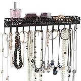 J JACKCUBE DESIGN Organizador de joyas de metal montado en la pared, bandeja de accesorios para colgar en negro con 25 ganchos para collar, pendientes, pulsera y reloj – MK621A