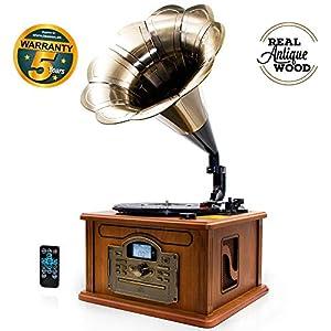 Gramola tocadiscos retro forma trompeta con USB, MP3, CD y ...