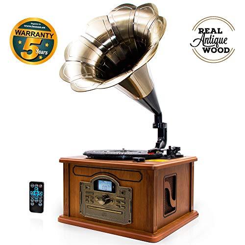 #05 GRAMMOFONO Lauson Grammofono Retro Bluetooth, Legno Autentico Naturale, Funzione di Codifica, Giradischi Vintage in Tromba con Altoparlanti Incorporati, Radio, CD, USB, MP3, 3 velocità, CL147