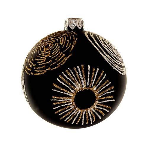 Kaheku Weihnachts-Baumkugel Noam Glas schwarz-Gold matt d8 cm