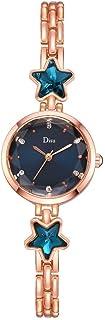 Stylish watch Women's Watch Quartz Wrist Watch with Round Dial Star Crystal Bracelet Watch with Metal Strap for Elegant Female,B Watch
