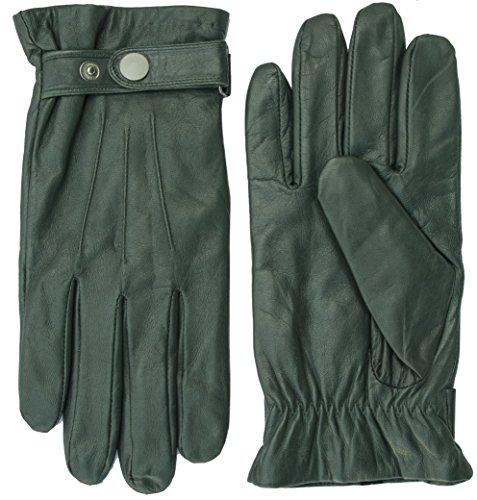 Didso Guantes de piel de napa de cordero para hombre, con pestillo, tres parches, cálidos, clásicos, económicos, reducidos verde M
