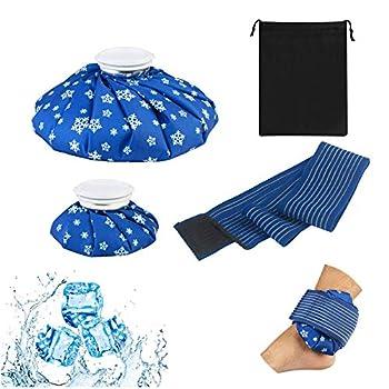 ZoomSky 2 Pcs Sac de Glace Utilisable Poche à Glace Réutilisable Vessie à Glace Chaud et Froid avec 150CM Sangle de Genou pour Homme Femme
