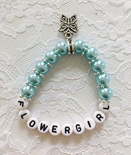 Parelarmband met tekst FLOWERGIRL voor uw bruiloft, sieraden, armband, bruiloft, bloemenmeisje, voor uw bruiloft (lichtblauw)