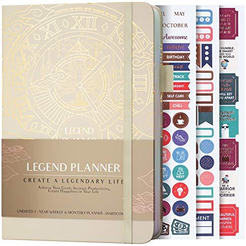 Legend Planner - Beste Wochenplanung und Monatskalender zur Steigerung der Produktivität, Erreichung von Zielen und Zeitmanagement - A5, undatiert - Muschel, Goldfolie