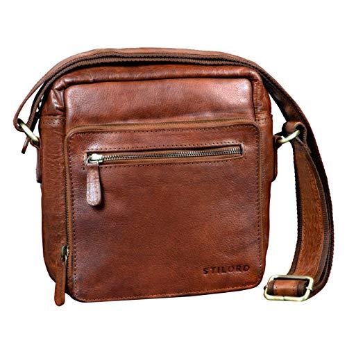 STILORD 'Nathan' Borsello da Uomo a tracolla in pelle Piccola borsa messenger in Cuoio a Spalla per Viaggi Escursioni, Colore:cognac marrone scuro