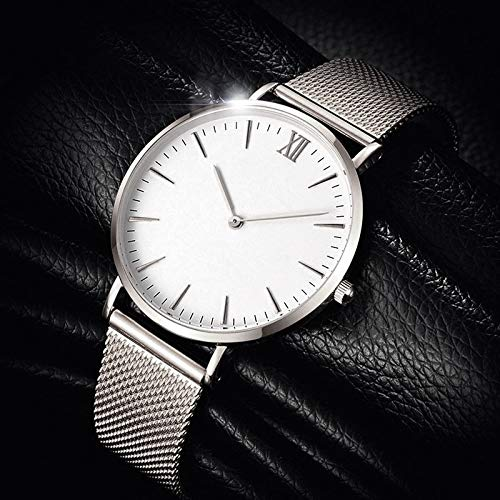 Xlin Red De Acero con Reloj Simple Simple Classic Scale Roman Scale Watch (Color : Silver White)