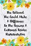 She Believed She Could Make A Difference So She Became A Customer Service Representative: Cute Address Book with Alphabetical Organizer, Names, ... and Notes: 13 (6x9 Size Address Book Jobs)