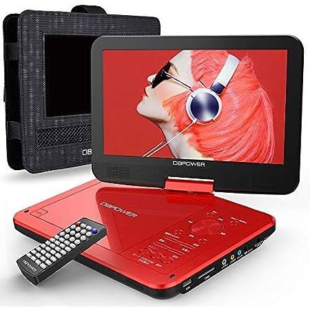 【新機種】DBPOWER ポータブルDVDプレーヤー 12.5型 車載用ホルダー付き 10.5インチ液晶 5時間連続再生 リージョンフリー CPRM対応 レジューム機能 270度回転 TV同期可能 SDカード/USBに対応 車載携帯式 1年保証