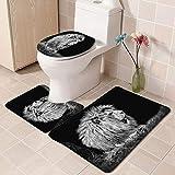 Cxypeng Vorleger Badematte Duschvorleger,Schwarz-Weiß-Löwe Duschvorhang Toilettensitz vierteilige Bad Teppich-A_3 Stück,Badteppich-Set,rutschfest
