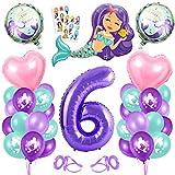 Sirena Decoración de Cumpleaños 6,Numero 6 Morado Gigantes Aluminio Globos Decoracion,Globos 6 año Cumpleãnos Sirena Niña Látex Globos Fiesta Party Decoración