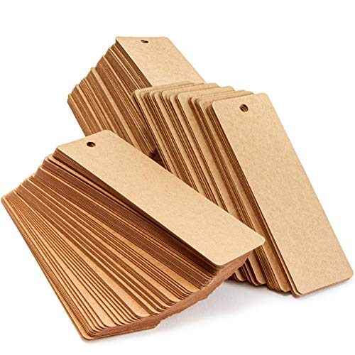 Blank Bookmarks with Hole for Ribbon or Tassel, Kraft Paper (6 x 2 in, 300 Pack)
