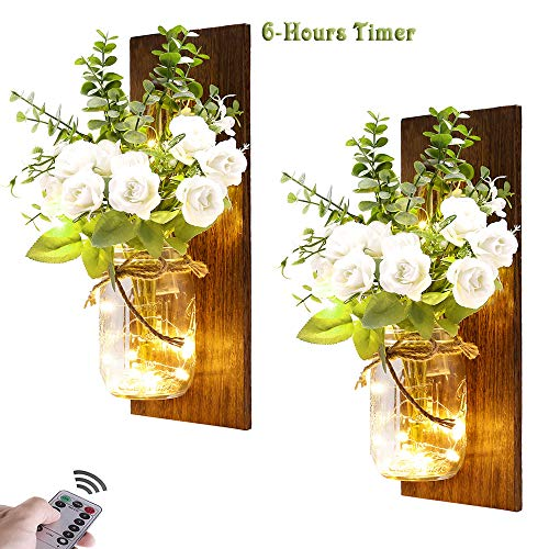 Rustic Wall Sconces Mason Jar Sconces Handmade Wall Art Hanging Design with Remote Timer LED Fairy Lights and White Rose, Farmhouse Kitchen Decorations Wall Decor Living Room Lights (Set of Two)