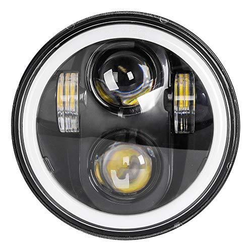 Zmoon 5-3/4′′ 5.75 inch Round LED Motorcycle Headlight with 4 Light Modes, Compatible with Harley Davidson Iron 883 Dyna Sportster Softail Street Bob Super Wide Glide Low Rider Night Rod Train Deuce