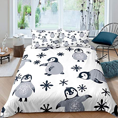 Castle Fairy White Background Comforter Cover for Kids Lovely Penguin Printed Duvet Sets Queen Snowing Pattern 3 Pieces Bedding Sets(1 Duvet Cover 2 Pillow Cases)