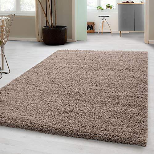 Carpetsale24, Hochflorteppich aus Polypropylen 80x250 cm beige