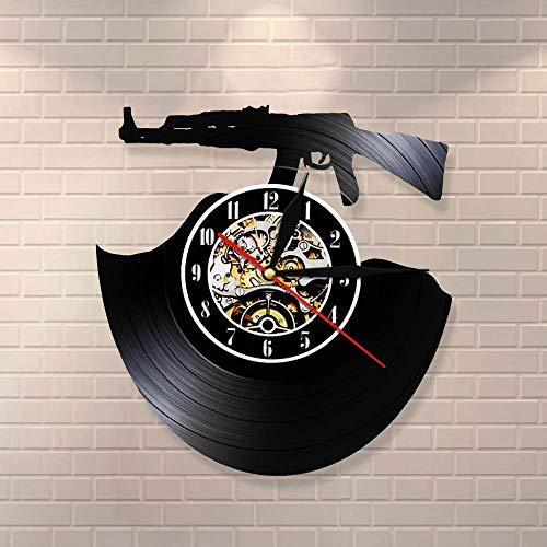 wtnhz LED-Reloj de Pared con Contorno 3D de Tiempo de Bala, Pistola de Tiro, Reloj de Vinilo, Reloj Moderno para Amantes de Las Armas, decoración del hogar, Regalo de Soldado Hecho a Mano