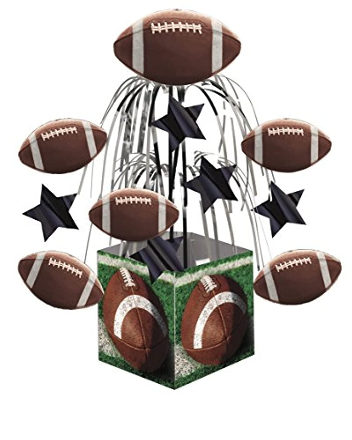 Creative Converting 266151 Stars and Footballs Mini Cascade with Printed Base Tailgate Rush Table Centerpiece Party Supplies, 19.25