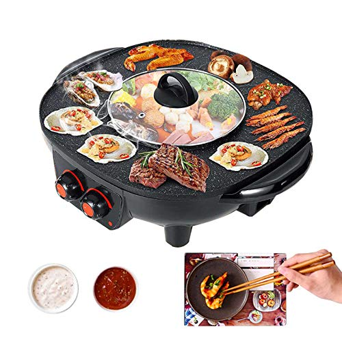 TWSOUL Grill Und Hot Pot Doppeltopf,2 In1 Multifunktion Korean Barbecue Hot Pot,Rauchfreier Innengrill- Leicht Zu Reinigen,Für Versammlungen Von 2-6 Personen