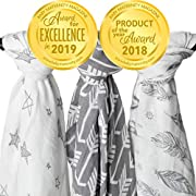 Muslin Swaddle Blanket Set 'Wanderer' Large 47x47 inch | Super Soft Bamboo Blankets | Arrow, Feather and Stars | 3 Pack Baby Shower Gift Bundle of Swaddles for Boys and Girls | 10,000 Wash Warranty