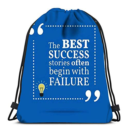 Lmtt Drawstring Bags Backpack Inspirational Motivational Quote The Best Success Stories Often Begin With Failure Simple Trendy Des Gym Bags