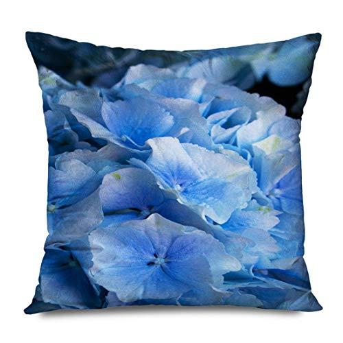 WH-CLA Couch Cushions Hortensia Azul Stil Blossom Cesta De Hojas Florales Hortensias Moradas Vida Vegetal Naturaleza Objetos De Flores Fundas De Almohada Funda De Almohada Suave Sofá De