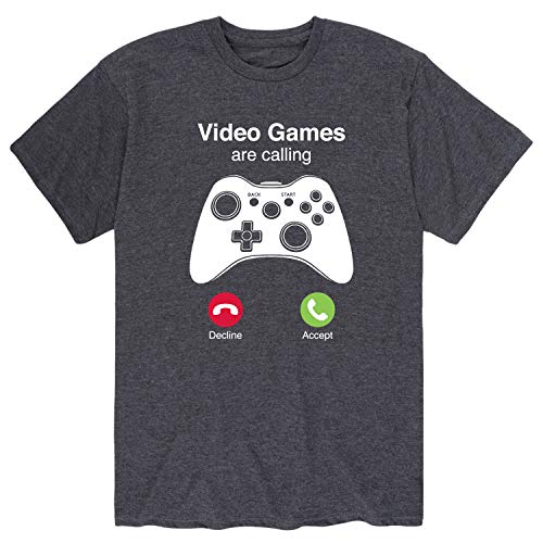 Video Games are Calling - Men's Short Sleeve Graphic T-Shirt Heather Charcoal