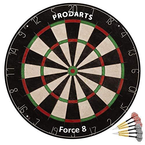 ProDarts Dartscheibe Foarce 8 – Aus hochwertigen A-Klasse Sisal Bristles – Extra dünne Drahtränder – 451 x 38 mm + Darts + Regelheft + Montagesatz