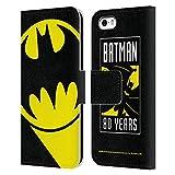Head Case Designs Licenciado Oficialmente Batman DC Comics Señal de murciélago Logotipos Carcasa de Cuero Tipo Libro Compatible con Apple iPhone 5 / iPhone 5s / iPhone SE 2016