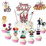 JeVenis Set von 35 Zirkus Cupcake Topper Zirkus Cake Topper Zirkus Geburtstag Dekorationen Vintage...