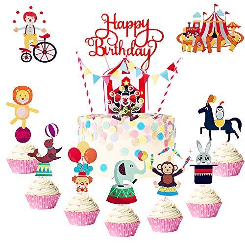 JeVenis Juego de 35 decoraciones de circo para cupcakes de circo, decoración de cumpleaños, decoración de circo, decoración de circo, decoración de fiesta de cumpleaños
