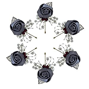 Buery 6 Pieces/lot Wedding Boutonniere Handmade Rose Boutonniere Corsage with Pin, Lapel Pin Rose Wedding Boutonniere for Wedding Prom Party Decor (Dark Gray)