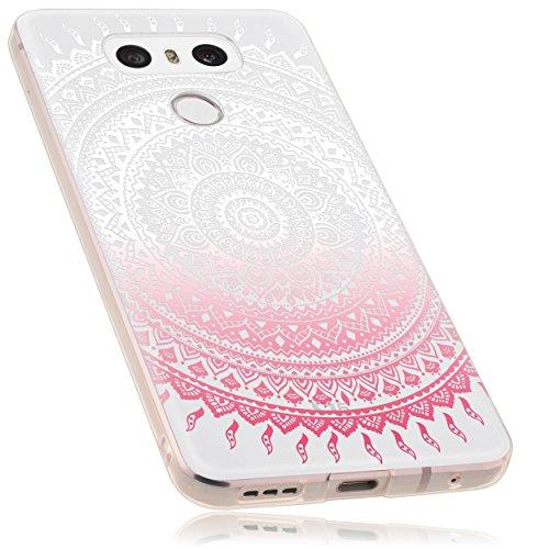 mumbi Funda Compatible con LG G6 Caja del teléfono móvil Avec Motif Mandala, Rosa trransparente