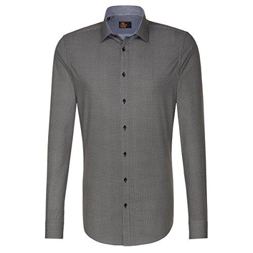 Seidensticker Herren Langarm Hemd UNO SUPER Slim Kent CP Invisible grau/weiß strukturiert 675820.35 (44, Grau)