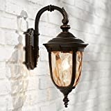 Bellagio Outdoor Wall Light Fixture Bronze 16 1/2' Hammered Glass Sconce for House Deck Patio Porch - John Timberland