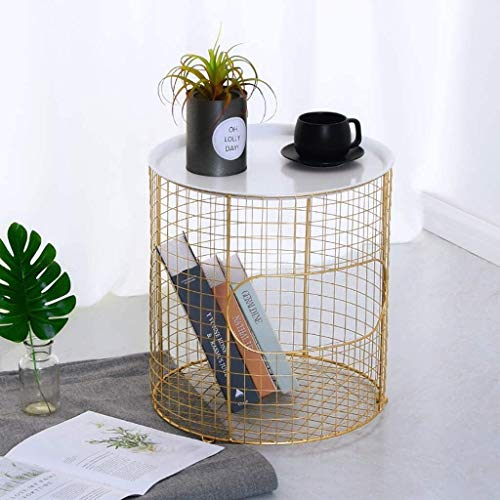 Creative moderne minimalistische salontafel Wasmand Salontafel opbergmand Modern goud Small Wire Side Table Metal Koffie End Side Table With - Lift Off Tray (kleur: B), Kleur: D Licht luxe-afwijzing v