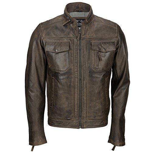 XPOSED Chaqueta para hombre de cuero auténtico estilo ciclista estilo corredor elegante casual negro, retro marrón antiguo