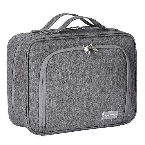 Hanging Travel Toiletry Bag for Men and Women - Large Capacity Cosmetic Wash Bag with 4 Compartments, Perfect For Travel Organize & Daily Use by HOKEMP (Gray - L)